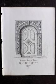 Anastatic Drawing Society 1858 Print. Doorway, Kingston House, Bradford-on-Avon